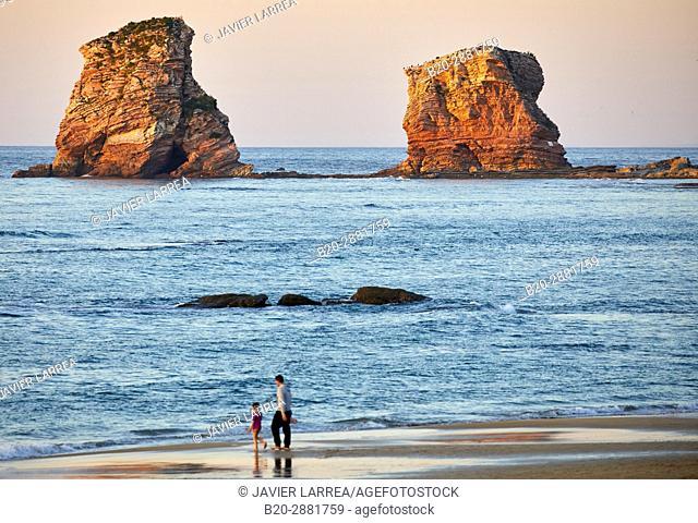 The Twin Rock, Beach, Hendaye, Aquitaine, Pyrenees Atlantiques, France