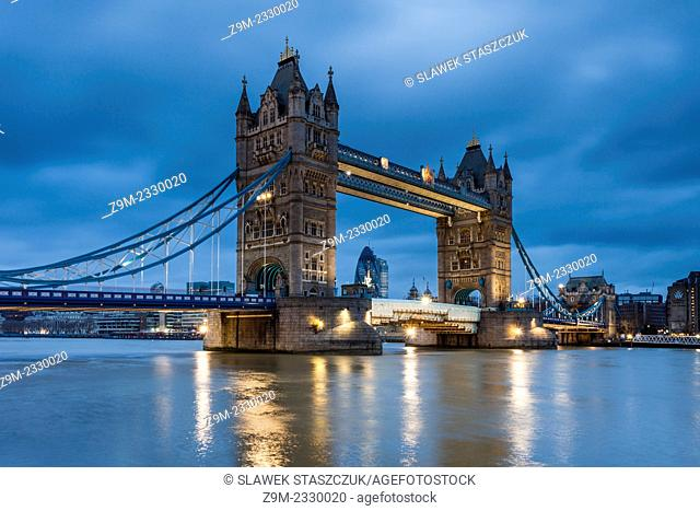 Before dawn at Tower Bridge in London, England, United Kingdom