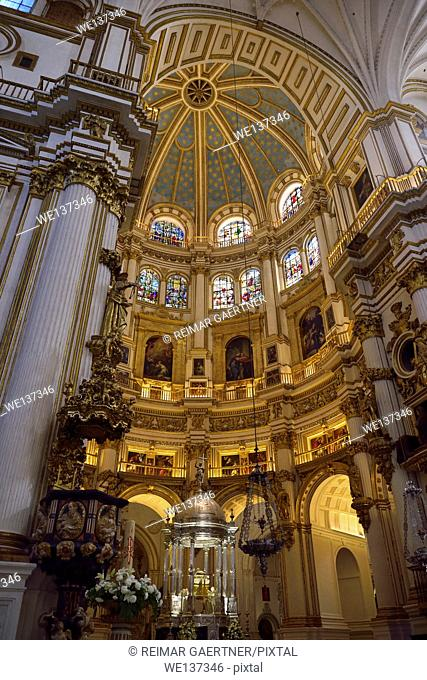 Tabernacle and lectern in the Chancel rotunda with dome ceiling in the Granada Cathedral of the Incarnation