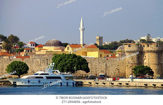 Greece, Dodecanese, Rhodes, mosque, Marine Gate, harbour,
