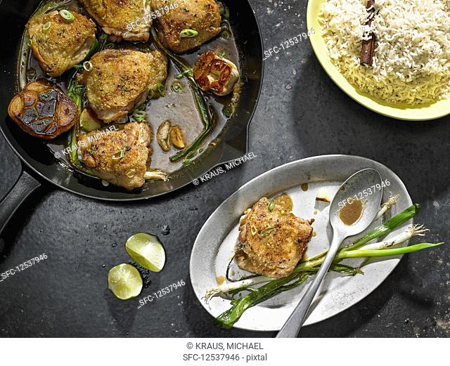 Garlicky Chicken Thighs With Scallion and Lime