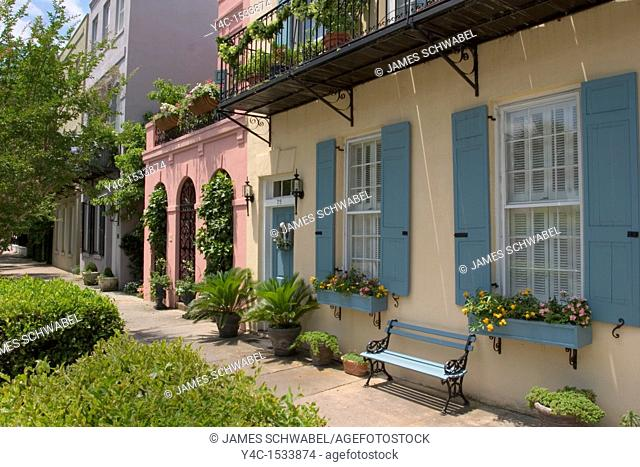 Rainbow Row houses, East Bay Street, Charleston, South Carolina