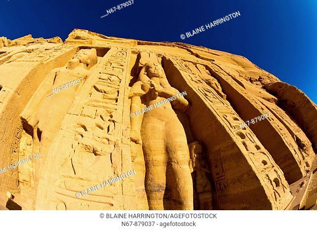The Temple of Hathor and Nefertari, Abu Simbel archaeological site on Lake Nasser, Egypt