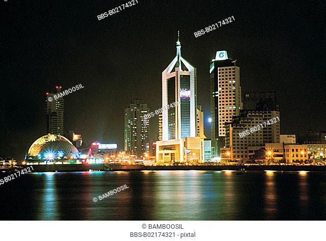 Night skyline of Zhan Bridge Park, Qingdao City, Shandong Province of People's Republic of China