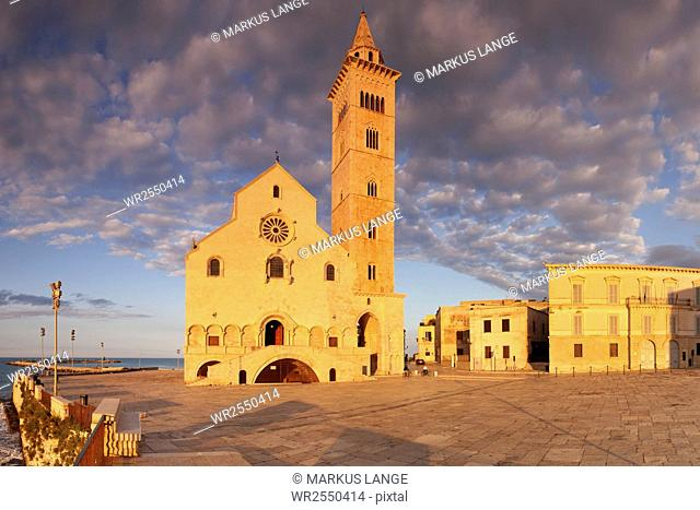 San Nicola Pellegrino cathedral at sunset, Piazza del Duomo, Trani, Le Murge, Barletta-Andria-Trani district, Puglia, Italy, Europe