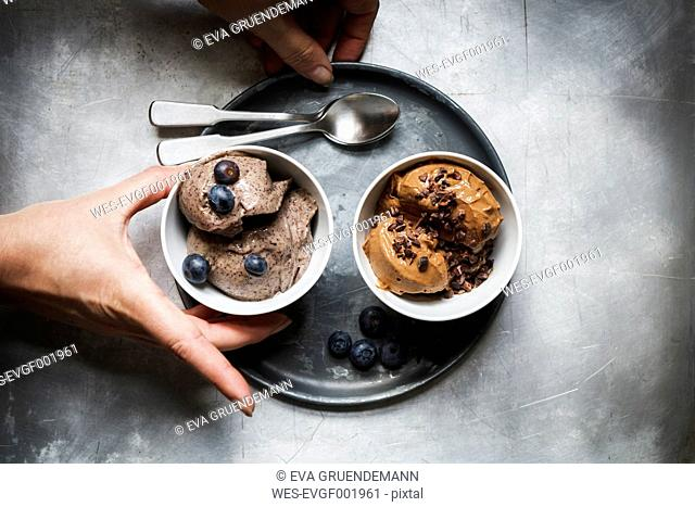 Bowls of vegan blueberry banana and chocolate banana ice cream
