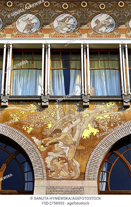 Art Nouveau facade with beautiful paintings, Albert Ciamberlani house built in 1897 by Paul Hankar, Rue Defacqz 48, Brussels, Bruxelles, Belgium, Europe
