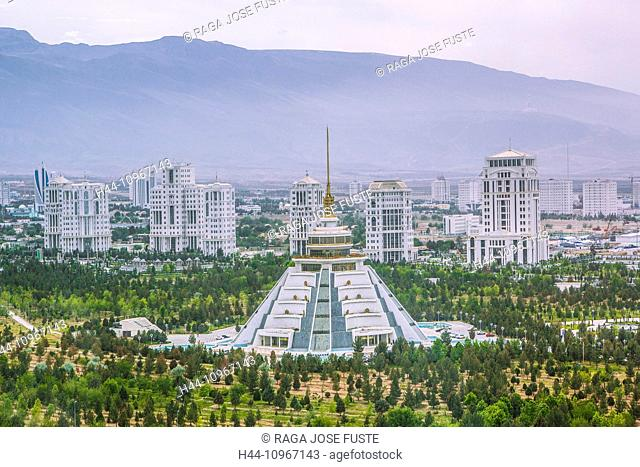Ashgabat, Turkmenistan, Central Asia, Asia, architecture, center, city, commercial, independence, marble, new, panorama, park, touristic, travel