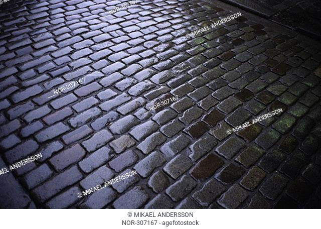Shades of gray on wet cobbles