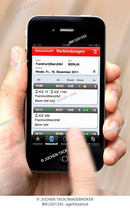 Iphone, smartphone, app on the screen, travel information of Deutsche Bahn, the German national railway company