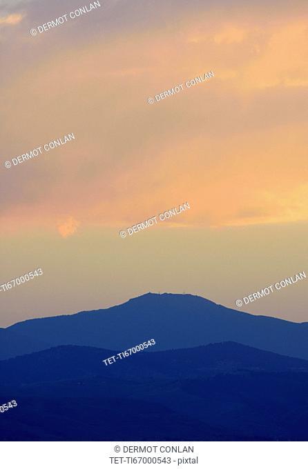 USA, Colorado, Denver, Moody sky over mountain range