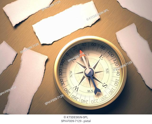 Traditional compass, conceptual artwork
