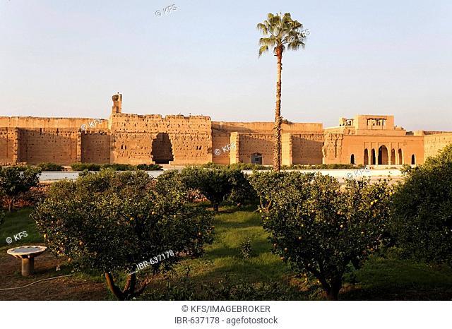 Ruins and orange gardens, inner courtyard of Palais El Badi, Marrakech, Morocco, Africa