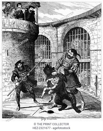 Gog extricating Xit from the bear in the Lions' Tower, 1840. A print from The Tower of London a Historical Romance, by William Harrison Ainsworth