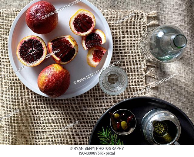 Blood oranges on plate