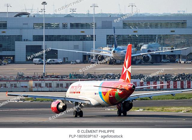 Airbus A320-214, narrow-body, commercial passenger twin-engine jet airliner from Air Malta at Brussels Airport, Zaventem, Belgium