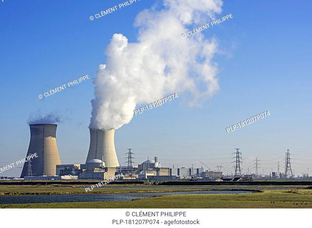 Nature reserve Prosperpolder and the Doel Nuclear Power Station / nuclear power plant in the Antwerp harbour, Flanders, Belgium