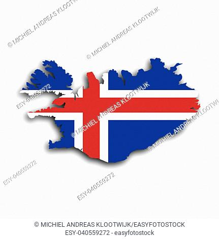Country shape outlined and filled with the flag, Iceland