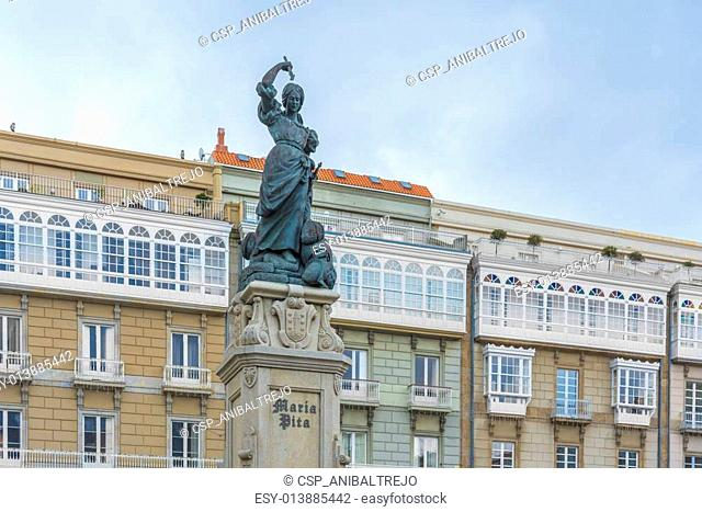 Monument to Maria Pita, A Coruna, Galicia, Spain