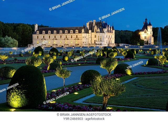Lighted Garden of Diane de Poitiers and Chateau Chenonceau in the Loire Valley, Centre France