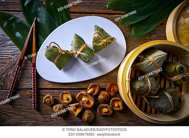 Zongzi Glutinous sticky Rice Dumplings recipe wrap with bamboo leaves asian food