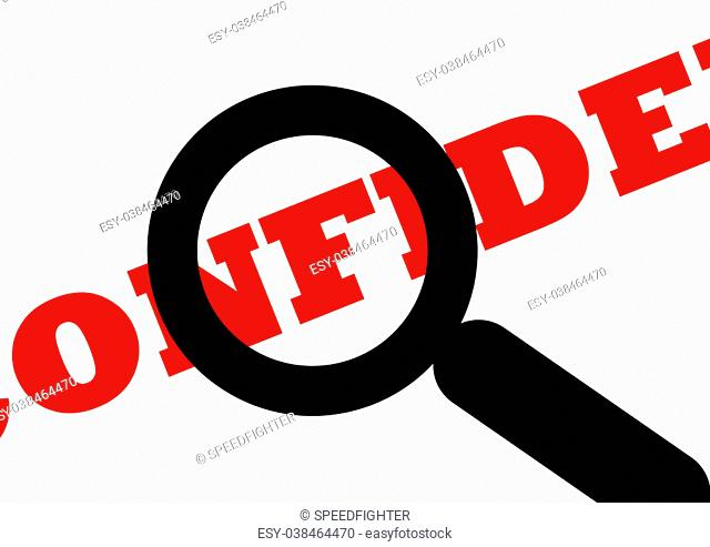 Confidential document viewed under spy of magnifying glass, isolated on white background