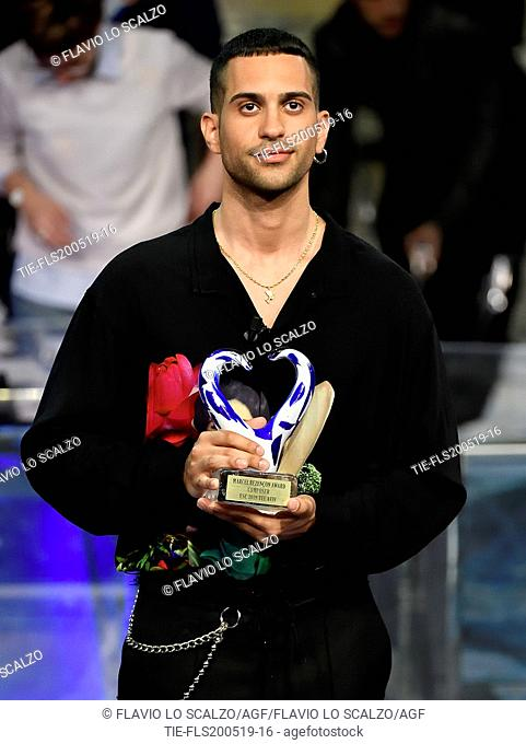 Italian singer Mahmood with in hand the Composer Award during the tv show Che tempo che fa, Milan, ITALY-19--05-2019