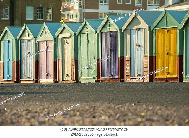 Colourful beach huts on Hove seafront, Brighton and Hove, East Sussex, England