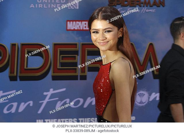 """Zendaya at Columbia Pictures' and Marvel Studios' """"""""Spider-Man Far From Home"""""""" World Premiere held at the TCL Chinese Theatre in Hollywood, CA, June 26, 2019"""