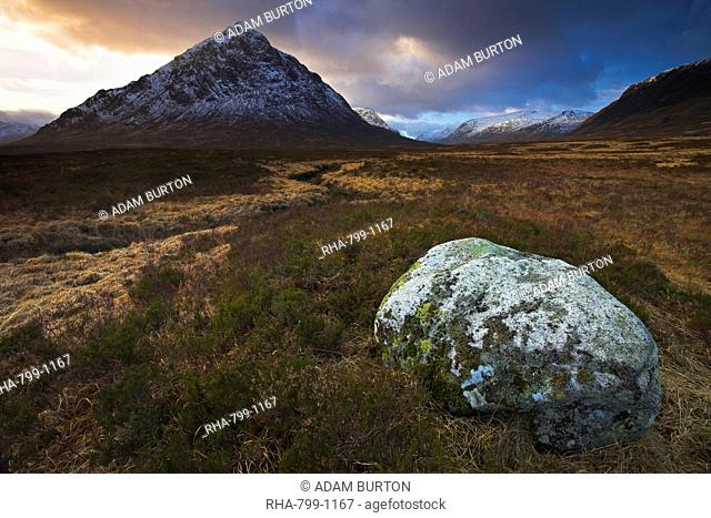 Buchaille Etive Mor dominates the moorland at Rannoch Moor, Highland, Scotland, United Kingdom, Europe