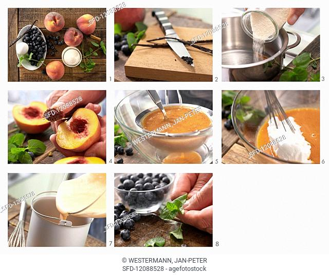 How to prepare peach sorbet with blueberries and mint