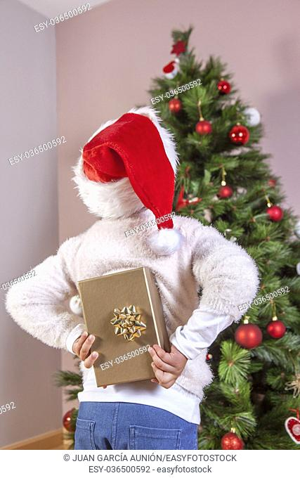 Happy child girl back holding present box. She is looking the Christmas tree