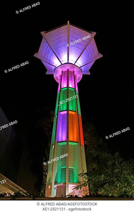Water tower tank illuminated at night, Centric Espai Cultural , El Prat de Llobregat, Barcelona province, Catalonia, Spain