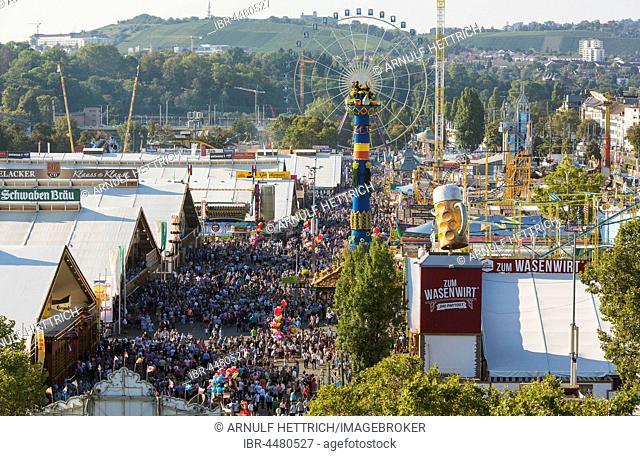 Fairground Stuttgarter Volksfest, Stuttgart Beer Festival, with Fruchsäule, pavilion, Stuttgart, Baden-Württemberg, Germany