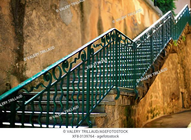 Stairs. Grasse, Alpes Maritimes, 06, PACA, France