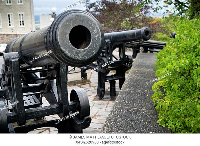 Historic cannons remain along the ramparts of Quebec City's walled fortress and World heritage Site