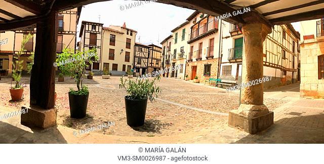 Obispo Peña Square, panoramic view. Covarrubias, Burgos province, Castilla Leon, Spain