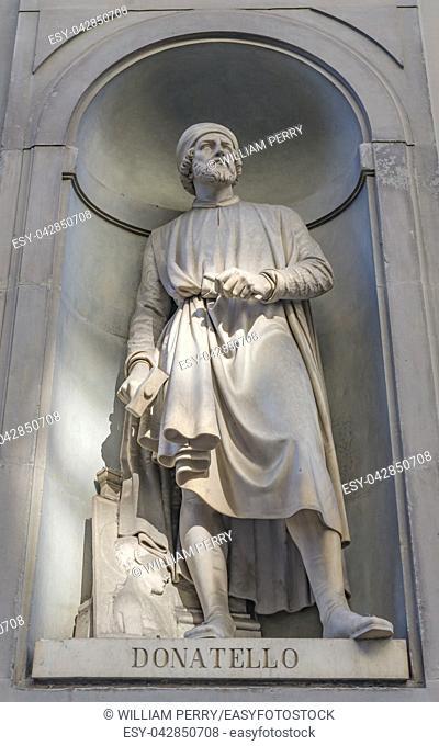 Donatello Statue Uffizi Gallery Florence Tuscany Italy. Statue by Girolamo Torrini in 1800s. 1400s Sculptor David