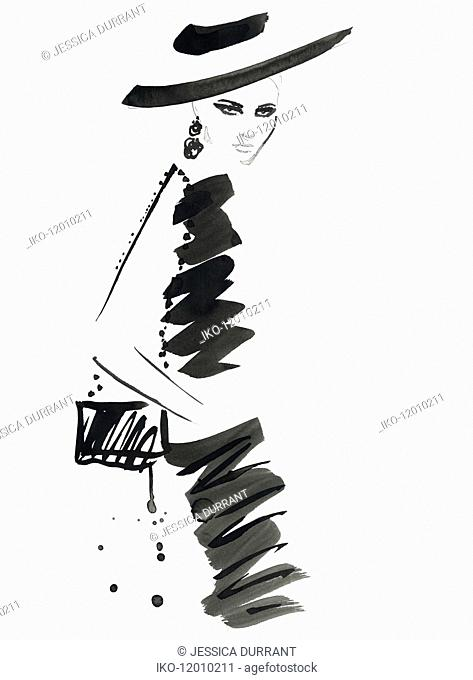 Fashion illustration of model wearing black dress and hat