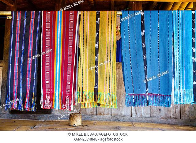 Pieces of cloths. Bena village. Flores island. Indonesia, Asia