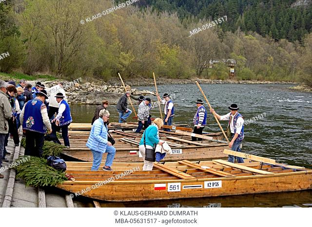 Poland, tourists are boarding the rafts of the Gorals on the Dunajec river