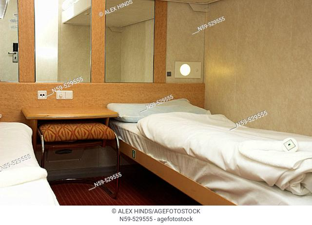 Ferry cabin bed's made up for passengers on overnight sailing