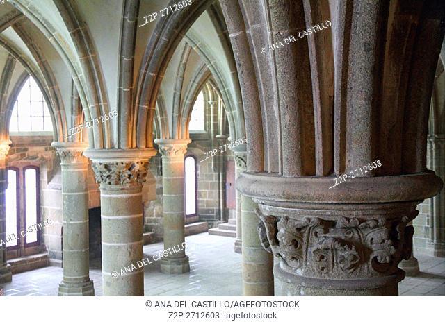 Mont Saint Michel abbey indoor, France