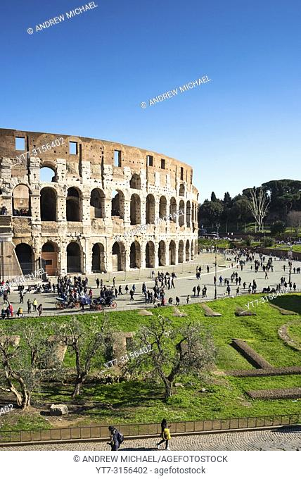 The Colosseum or Coliseum from Palatine Hill. Also known as the Flavian Amphitheatre, an oval amphitheatre in the centre of the city of Rome, Italy