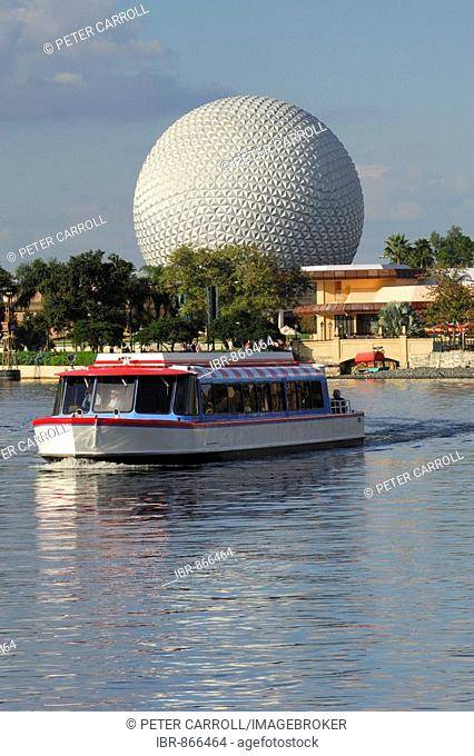 Ferry boat with Spaceship Earth behind, Epcot, Disney World, Florida, USA