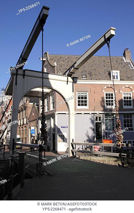 Balanced Bridge over Groenburgwal Canal Amsterdam Holland