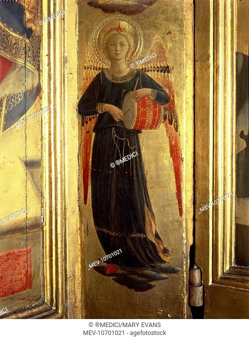Angel playing a drum by Fra Angelico
