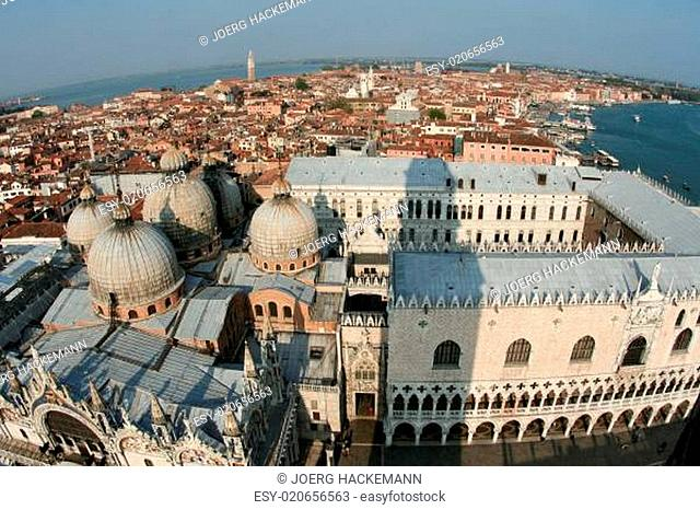 View from the clocktower over famous Doges Palace in Venice