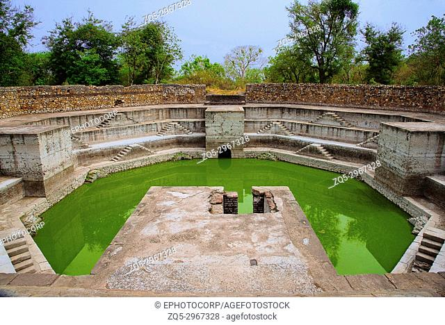 Step well, located at Jami Masjid (Mosque), UNESCO protected Champaner - Pavagadh Archaeological Park, Gujarat, India