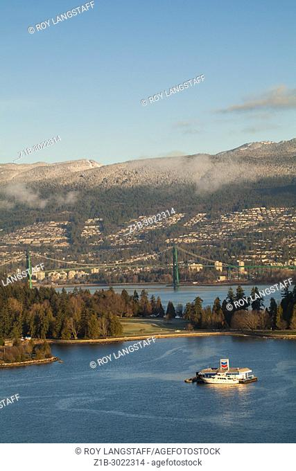 Lions Gate Bridge with Stanley Park in the foreground, Vancouver, British Columbia. Canada